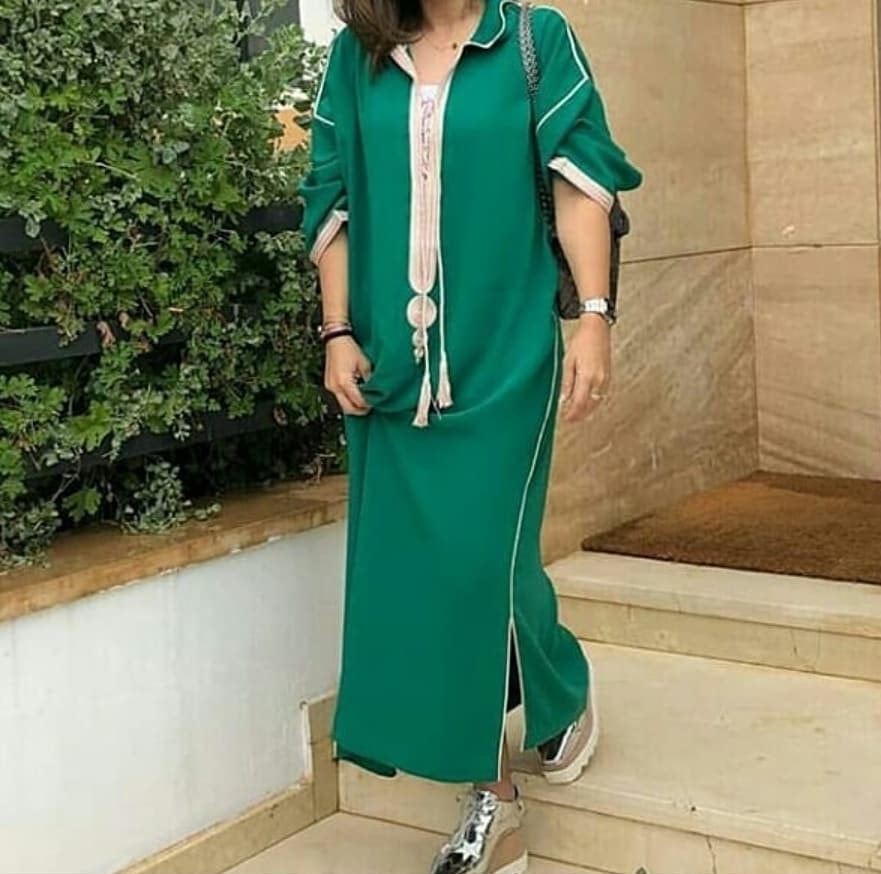 Djellaba marocaine vert pour femmes