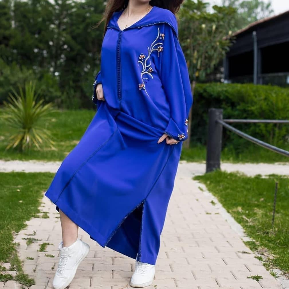 Djellaba marocaine courte bleu