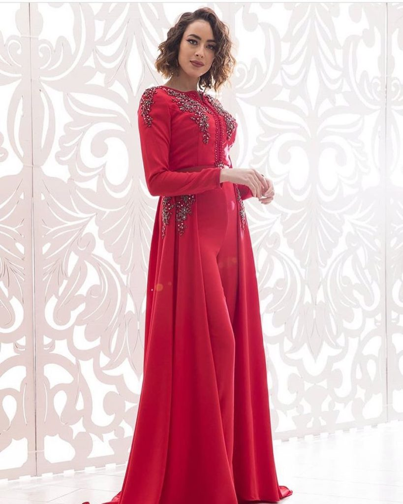 Caftan moderne avec pantalon 2020 rouge